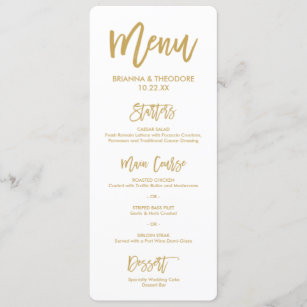 Wedding menu cards invitations zazzle chic hand lettered gold wedding menu junglespirit Gallery