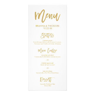 Chic Hand Lettered Gold Wedding Menu Full Color Rack Card