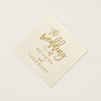 Chic Hand Lettered Gold Wedding Napkins Paper Napkin
