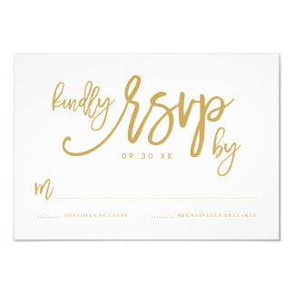 Chic Hand Lettered Gold Wedding RSVP Card 9 Cm X 13 Cm Invitation Card