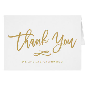 Chic Hand Lettered Gold Wedding Thank You Card