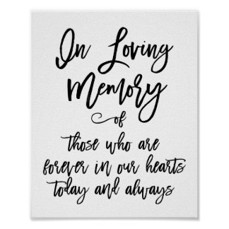 Chic Hand Lettered In Loving Memory Sign Poster
