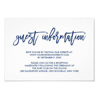 Chic Hand Lettered Navy Wedding Guest Information 9 Cm X 13 Cm Invitation Card