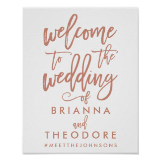 Chic Hand Lettered Rose Wedding Welcome Sign Poster