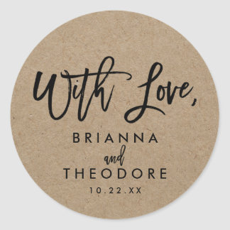 "Chic Hand Lettered Rustic ""With Love"" Favor Label Round Sticker"