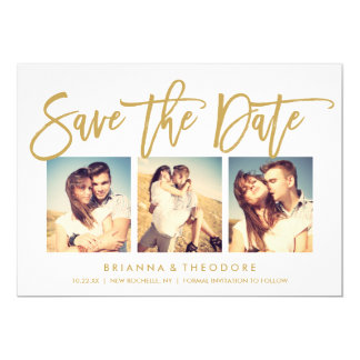 Chic Hand Lettered Save The Date Photo Collage 13 Cm X 18 Cm Invitation Card