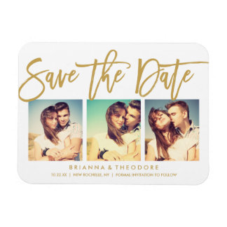 Chic Hand Lettered Save The Date Photo Collage Rectangular Photo Magnet