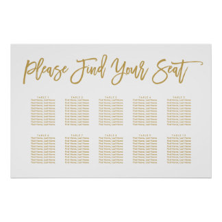 Chic Hand Lettered Seating Chart Gold Poster