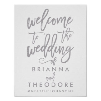 Chic Hand Lettered Silver Wedding Welcome Sign Poster