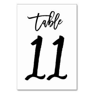 Chic Hand Lettered Table Number Card | Table 11 Table Card