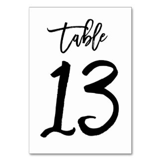 Chic Hand Lettered Table Number Card | Table 13 Table Card