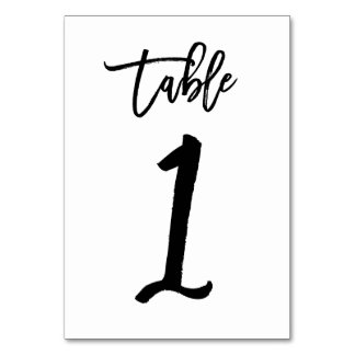 Chic Hand Lettered Table Number Card | Table 1 Table Card
