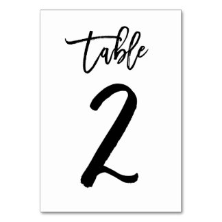 Chic Hand Lettered Table Number Card | Table 2 Table Cards