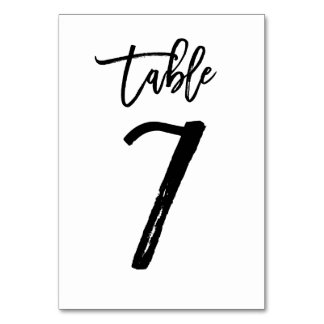 Chic Hand Lettered Table Number Card | Table 7 Table Cards