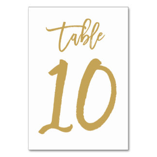 Chic Hand Lettered Table Number Gold | Table 10 Table Cards
