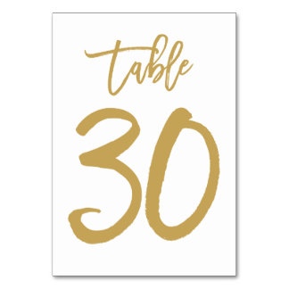Chic Hand Lettered Table Number Gold | Table 30