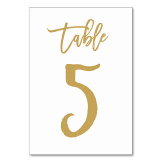 Chic Hand Lettered Table Number Gold | Table 5 Table Cards