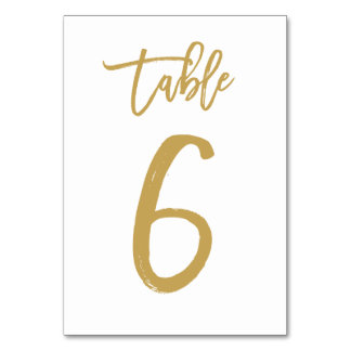 Chic Hand Lettered Table Number Gold | Table 6 Table Card