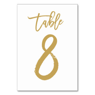 Chic Hand Lettered Table Number Gold | Table 8 Table Card