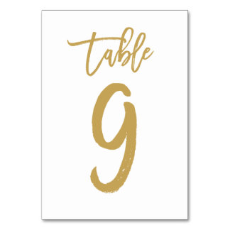 Chic Hand Lettered Table Number Gold | Table 9 Table Cards