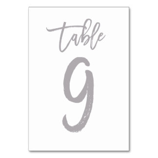 Chic Hand Lettered Table Number Silver | Table 9