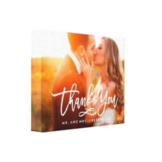Chic Hand Lettered Thank You Photo Canvas Prints