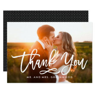 Chic Hand Lettered Thank You Photo Card