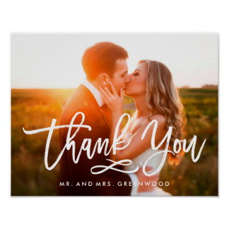 Chic Hand Lettered Thank You Photo Poster