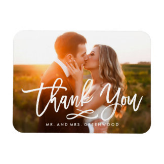 Chic Hand Lettered Thank You Photo Rectangular Photo Magnet