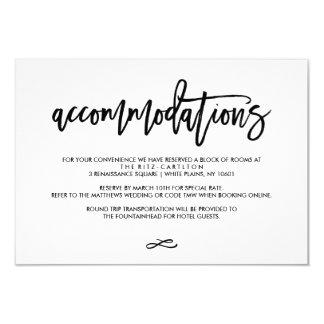 Chic Hand Lettered Wedding Accomodations Card 9 Cm X 13 Cm Invitation Card