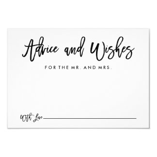 Chic Hand Lettered Wedding Advice and Wishes Card