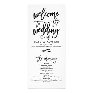 Chic Hand Lettered Wedding Ceremony Program Personalised Rack Card