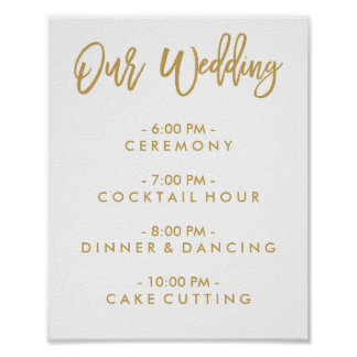 Chic Hand Lettered Wedding Day Of Schedule Poster