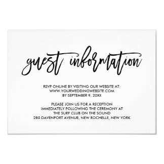 Chic Hand Lettered Wedding Guest Information 9 Cm X 13 Cm Invitation Card