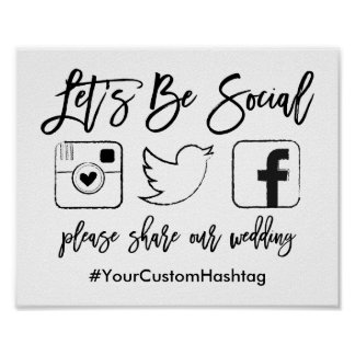 Chic Hand Lettered Wedding Hashtag Black Sign