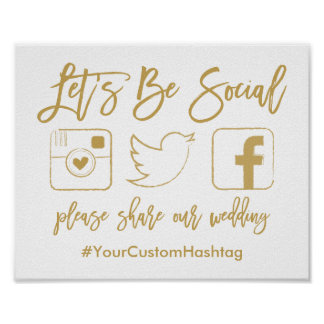 Chic Hand Lettered Wedding Hashtag Gold Sign