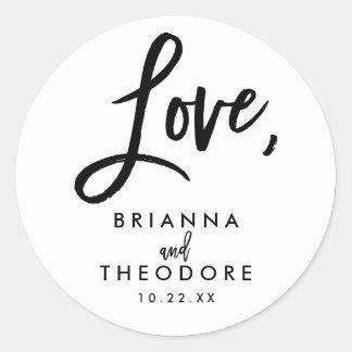 Chic Hand Lettered Wedding Love Favor Label Round Sticker