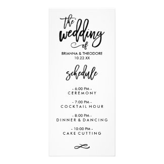 Chic Hand Lettered Wedding Menu 10 Cm X 23 Cm Rack Card