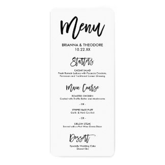 Chic Hand Lettered Wedding Menu 10 Cm X 24 Cm Invitation Card