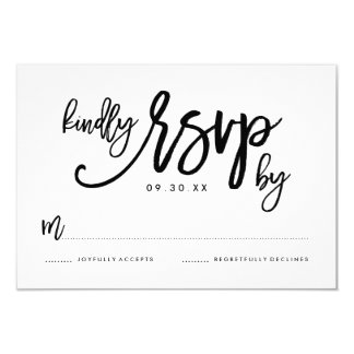 Chic Hand Lettered Wedding RSVP Card 9 Cm X 13 Cm Invitation Card