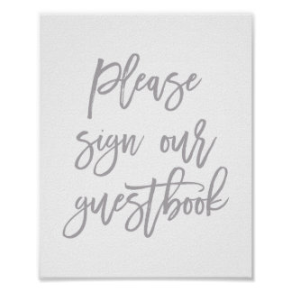 Chic Hand Lettered Wedding Sign Our Guest Book Poster