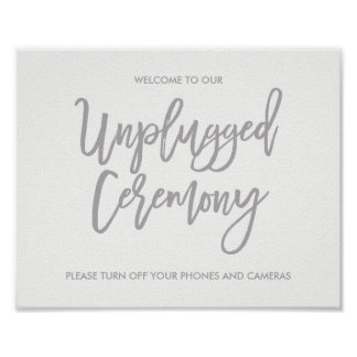 Chic Hand Lettered Wedding Unplugged Ceremony Sign