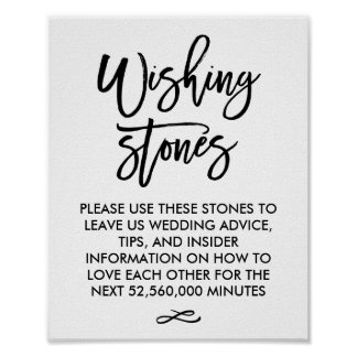 Chic Hand Lettered Wedding Wishing Stones Sign