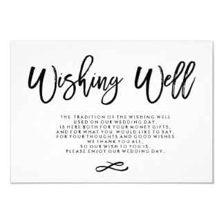 Chic Hand Lettered Wedding Wishing Well Card