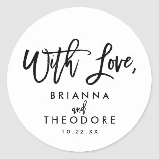 Chic Hand Lettered Wedding With Love Favor Label Round Sticker