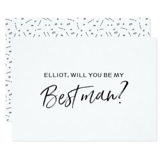 "Chic Hand lettered ""Will you be my best man"" 13 Cm X 18 Cm Invitation Card"