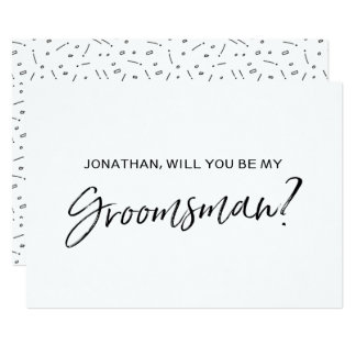 "Chic Hand lettered ""Will you be my groomsman"" 13 Cm X 18 Cm Invitation Card"