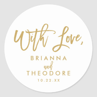 Chic Hand Lettered With Love Favor Label Gold Round Sticker