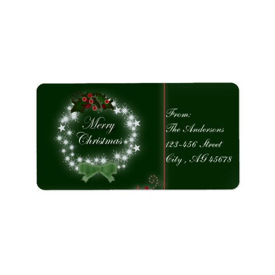 Chic Happy Holiday modern christmas wreath Label