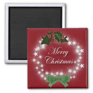 Chic Happy Holiday modern christmas wreath Square Magnet